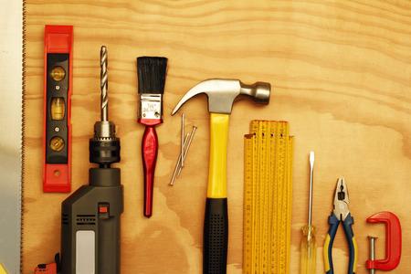 work tools: Assorted work tools on wood