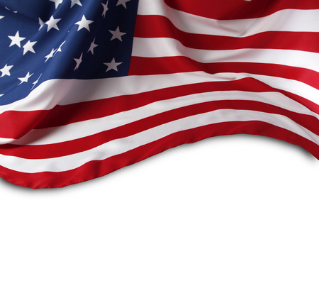american flags: Closeup of American flag on plain background