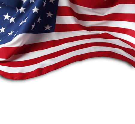 banderas america: Primer plano de la bandera americana en el fondo llano