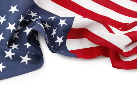 Closeup of American flag on white background Stock Photo