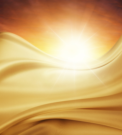 Silky fabric in front of bright sky photo