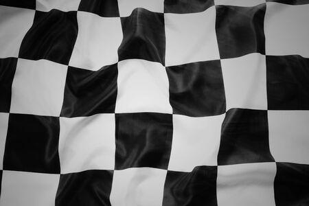 checker flag: Checkered black and white flag closeup Stock Photo
