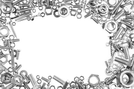 metal fastener: Chrome nuts and bolts frame Stock Photo
