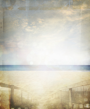 Retro sand and sea beach scene