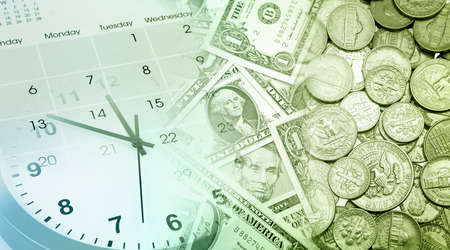 time money: Clock face, calendar and American currency