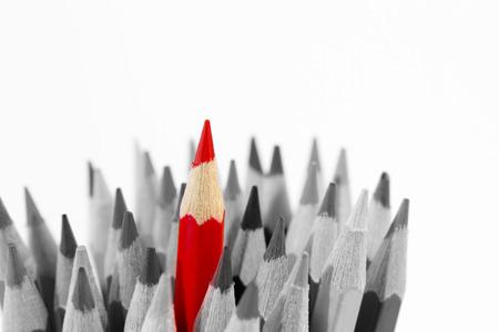 lapiz: Lápiz rojo destacándose de los demás