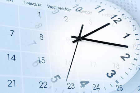 Clock face and calendar composite Archivio Fotografico
