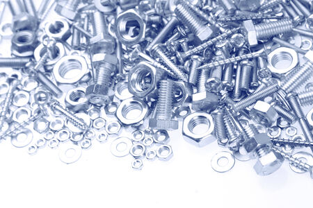 metal fastener: Assorted nuts and bolts closeup