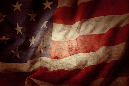 the united states flag: Closeup of grunge American flag