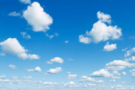 fluffy clouds: Fluffy white clouds in sky Stock Photo