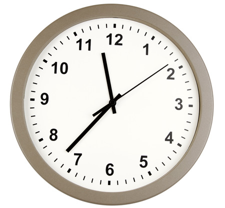 punctual: Clock isolated on plain background