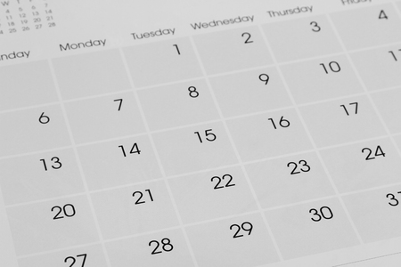 organizer page: Closeup of numbers on calendar page