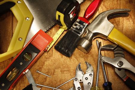 work tools: Diversas herramientas de trabajo en la madera Foto de archivo
