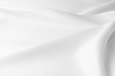 Closeup of rippled white silk fabric Stockfoto