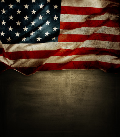 american flags: Closeup of American flag on grunge background