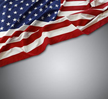 灰色の背景にアメリカの国旗 写真素材