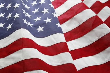 Close-up van gegolfde Amerikaanse vlag Stockfoto