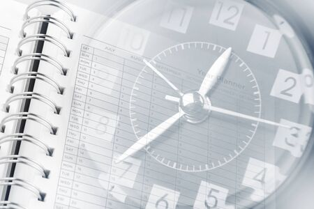 agenda year planner: Clock face and year planner page