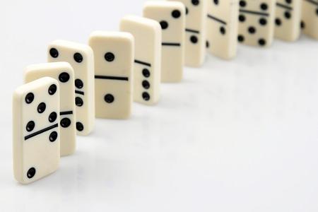 dominoes: Dominoes standing in a row