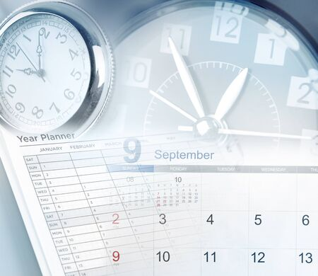 agenda year planner: Clock faces, calendar and year planner