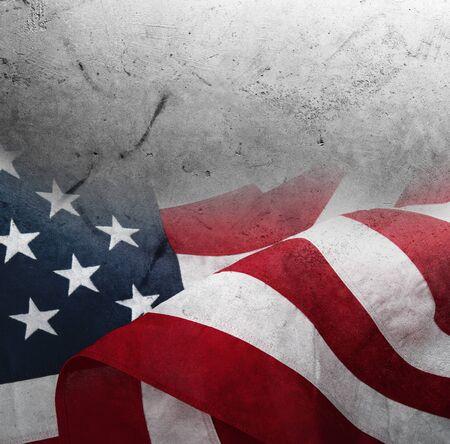 美国国旗特写镜头在灰色背景的