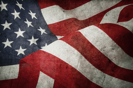 old photograph: Closeup of American flag and texture composite