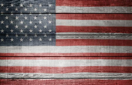 wood fences: Closeup of American flag on boards Stock Photo