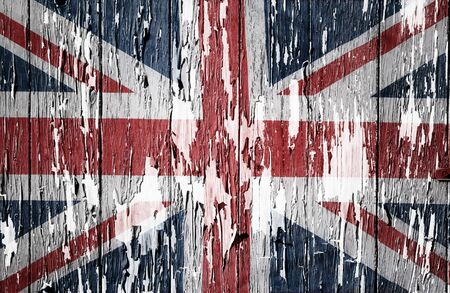 flaking: Flaking paint boards Union Jack flag