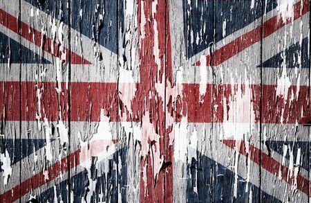 disintegrating: Flaking paint boards Union Jack flag