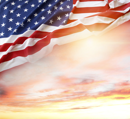 american states: American flag and bright sky