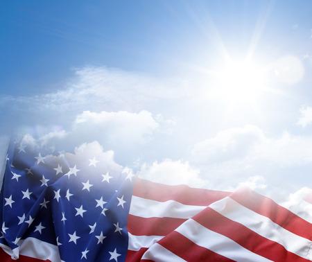 American flag in blue sky Standard-Bild