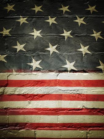 Closeup of American flag on wall photo