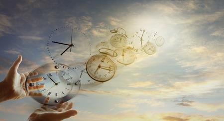 手と空時計