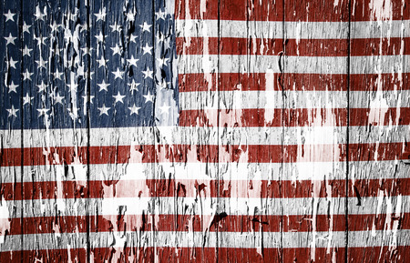 disintegrating: Flaking paint boards American flag Stock Photo
