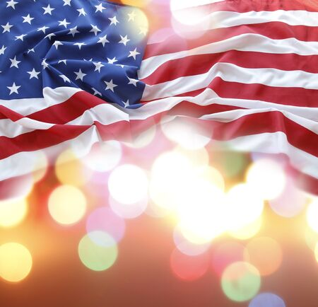 American flag in front of abstract background