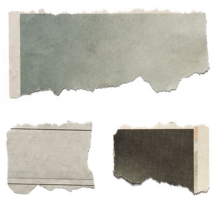 fray: Three pieces of torn paper on plain background