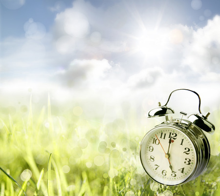 Alarm clock in spring field photo
