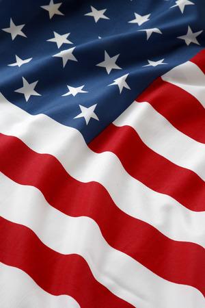 the united nations: Primer plano de la bandera americana con volantes