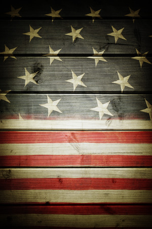 patriotic: Closeup of American flag on boards Stock Photo