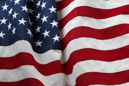 american flag: Closeup of ruffled American flag