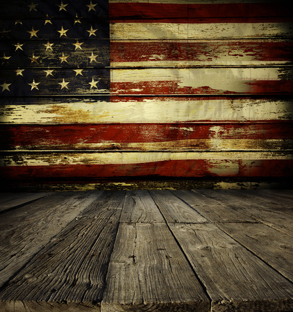 american flags: Wooden floor and American flag on wall