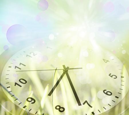 clock face: Clock face in spring field