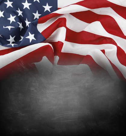 blank chalkboard: American flag on a blackboard Stock Photo