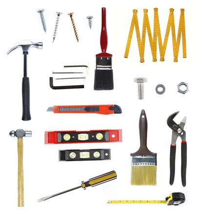 white  background: Surtido de herramientas sobre fondo liso