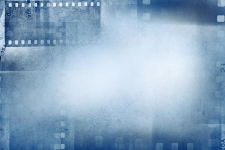 macro film: Film negative frames on blue background
