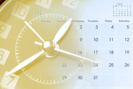 Clock face and calendar composite photo