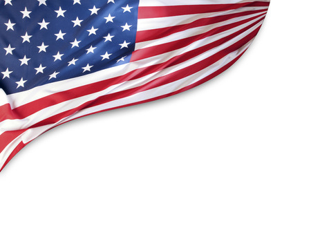 country flags: American flag on plain background, copy space