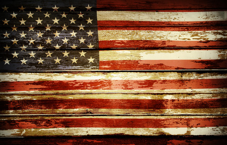 Closeup of American flag on boards Imagens