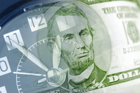 save time: Clock and American banknote Stock Photo