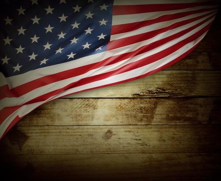 american flag: Closeup of American flag on wood
